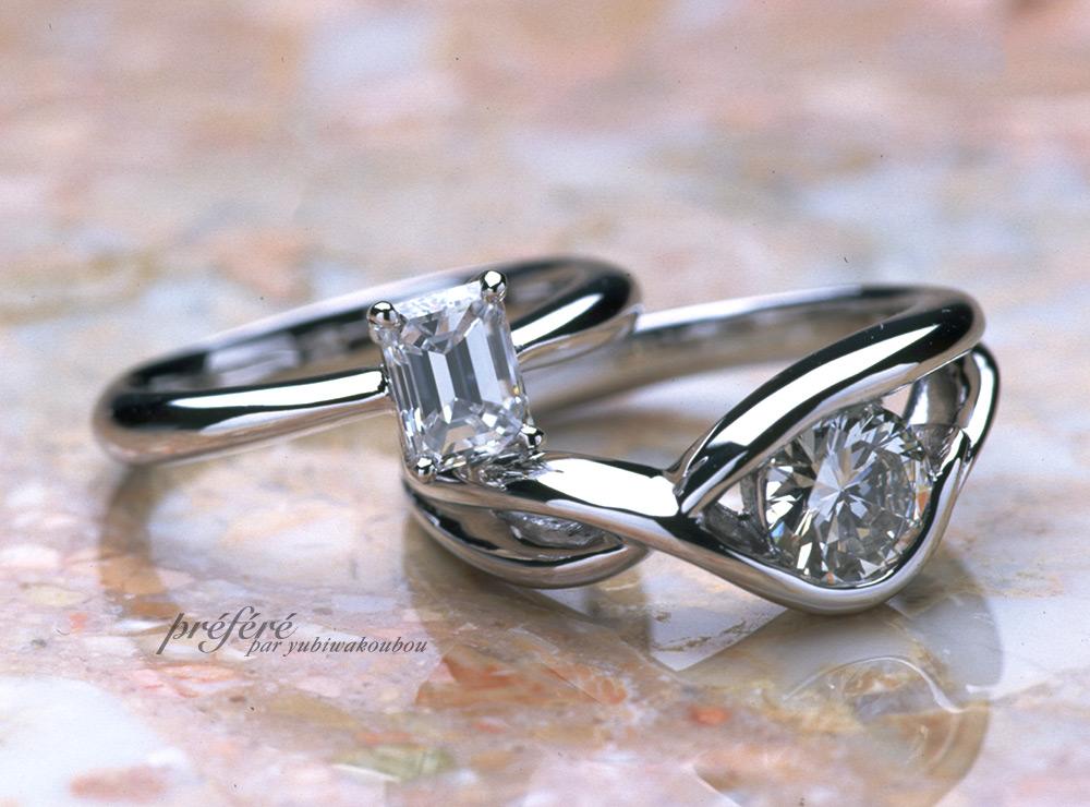 オーダーメイドのエンゲージリング(婚約指輪)はバケットとラウンドのダイヤで