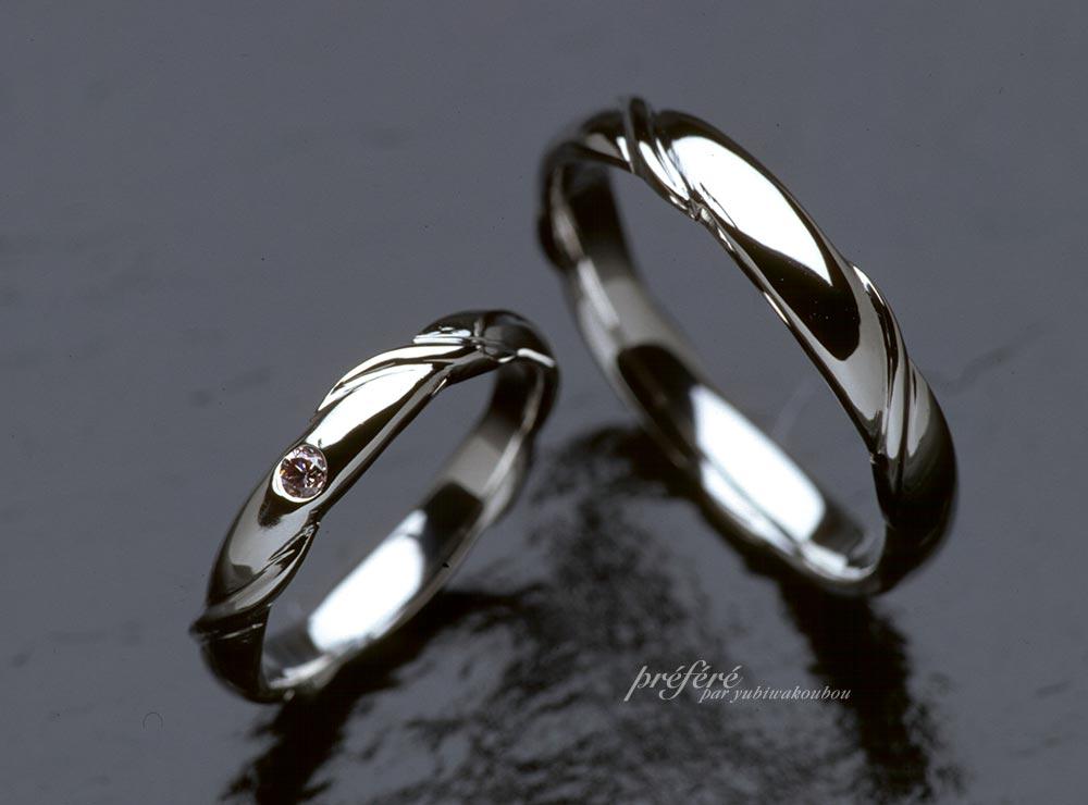 ファンシーピンクのダイヤ オーダーメイドのマリッジリング(結婚リング)