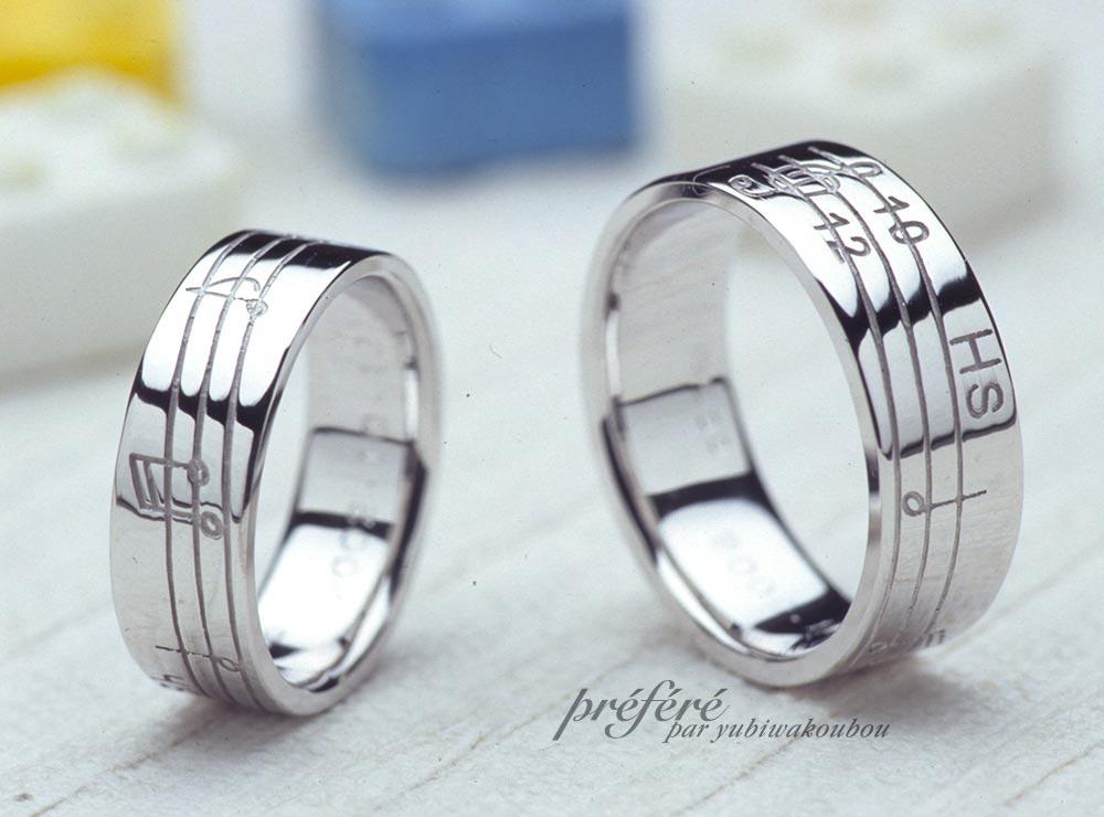 結婚指輪は音符モチーフを入れてオーダーメイド