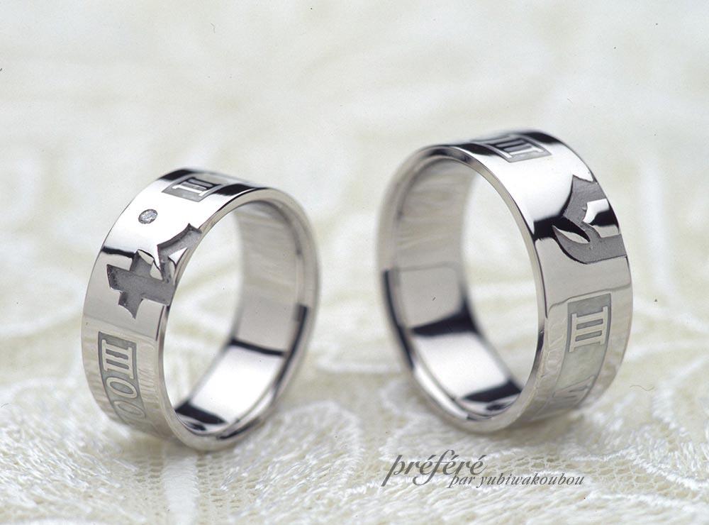 イニシャルとローマ数字の結婚指輪