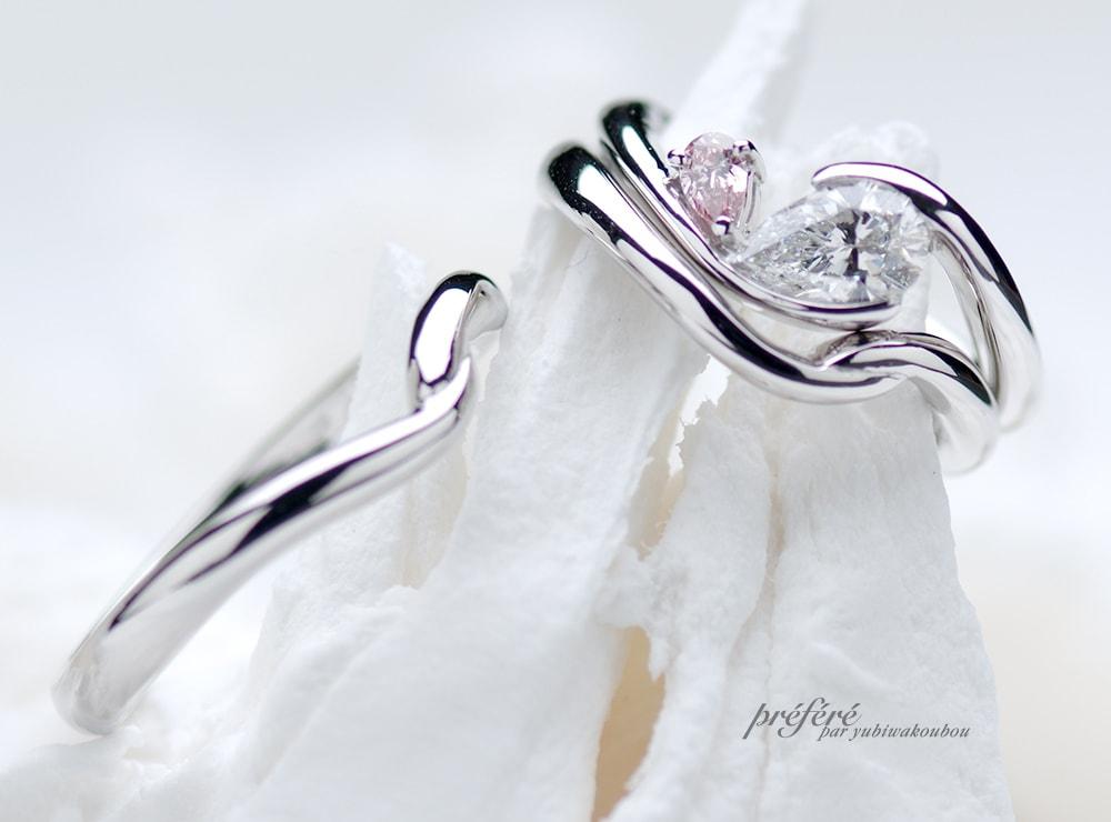 婚約指輪&結婚指輪の重ね着けオーダーメイドセットリング(指輪No.389)