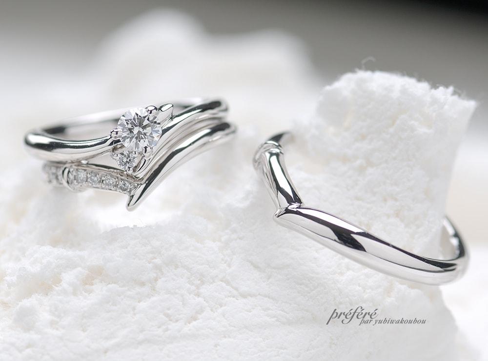 ラウンドダイヤの婚約指輪&結婚指輪オーダーでセットリング(指輪No.394)