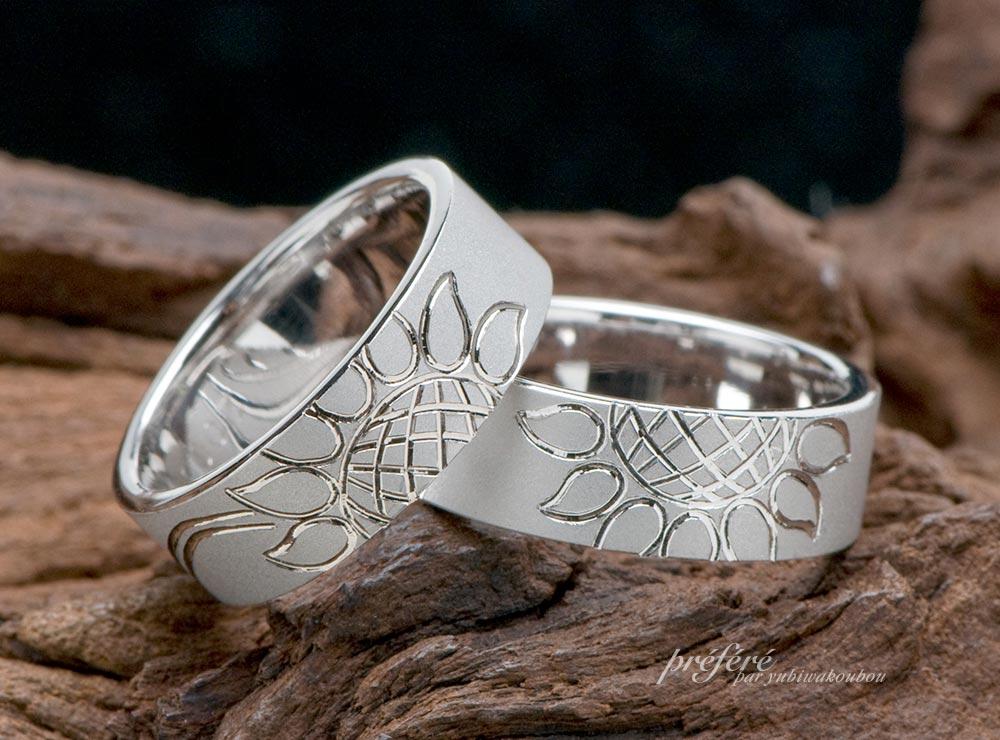 結婚指輪はひまわりデザインのオーダーメイド(指輪No.4037)