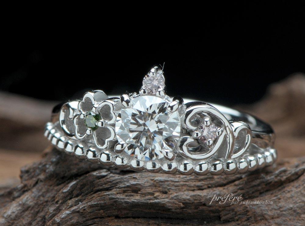 四つ葉のクローバーとイニシャルのティアラ型婚約指輪オーダー