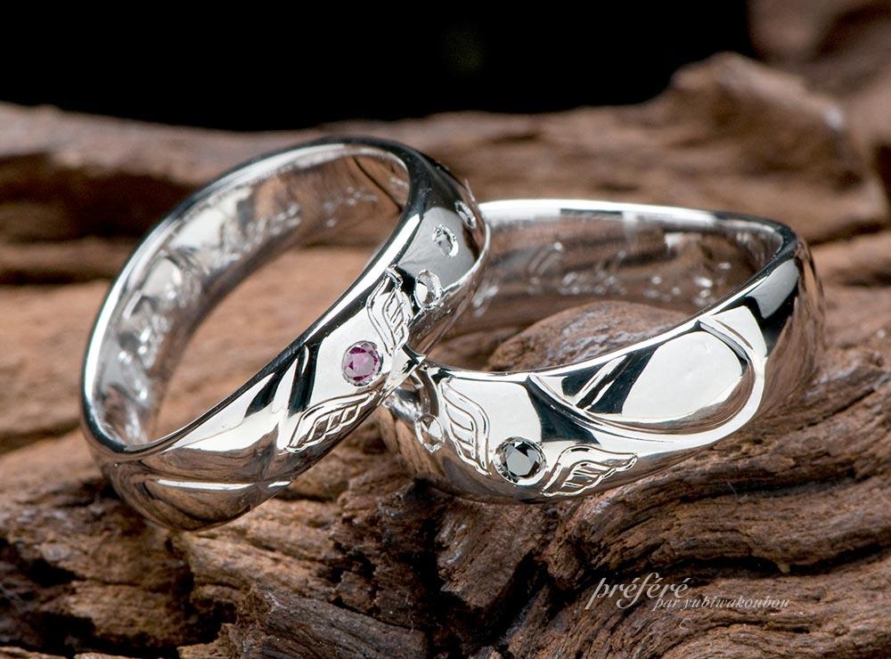 天使の羽根とゴルフデザインの結婚指輪