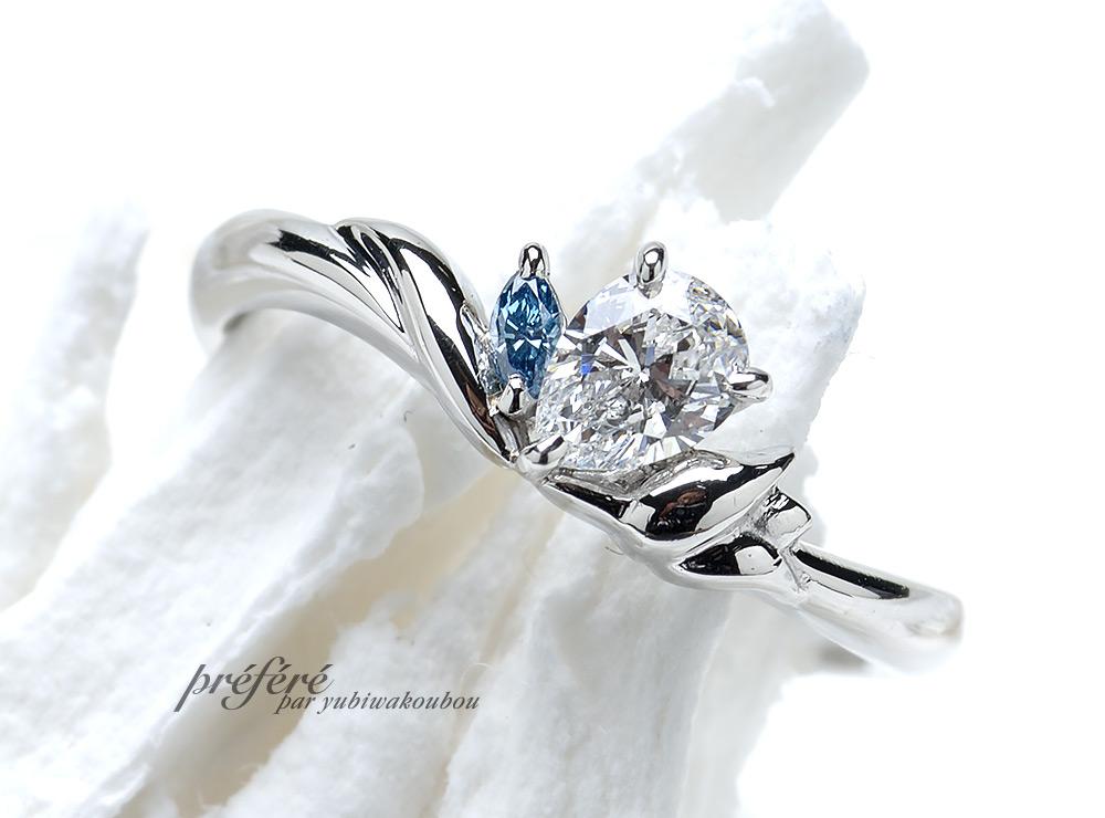チューリップ の婚約指輪をペアシェイプダイヤでオーダーメイド