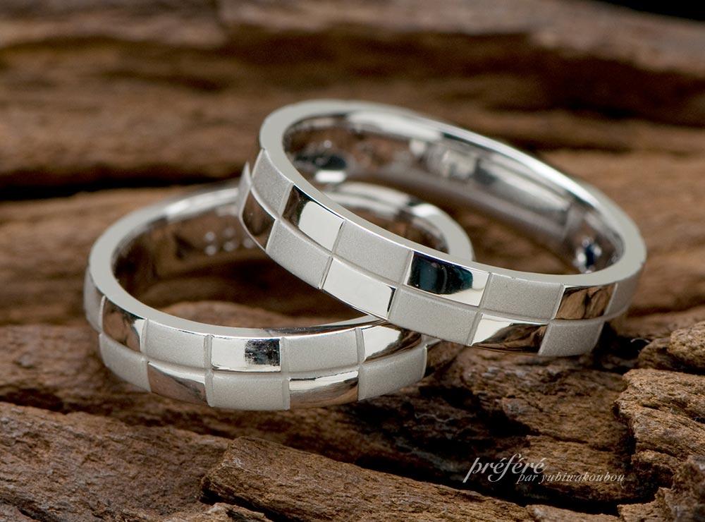市松模様,結婚指輪,オーダーメイド