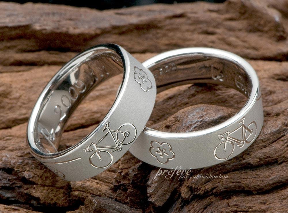 ロードバイクと梅の花デザインの結婚指輪