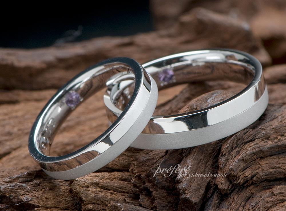 シンプル 結婚指輪オーダー 誕生石