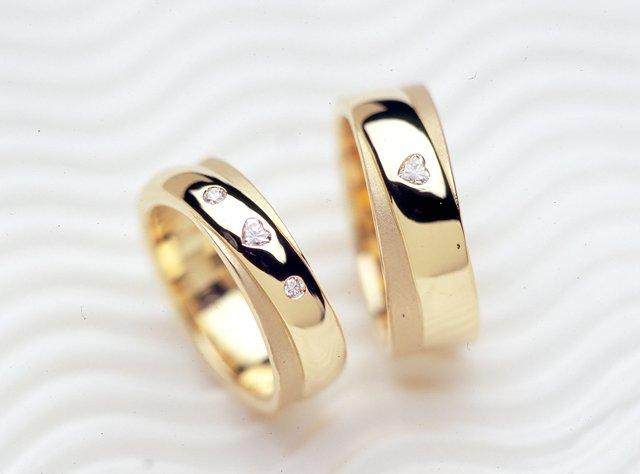 """キュートで""""LOVE""""な【二連タイプ】のオーダーメイドマリッジリング(指輪No.436)"""