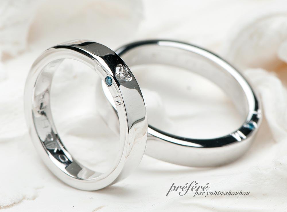 結婚指輪のオーダーは側面に熱い想いを詰め込んだデザインです(指輪No.3891)