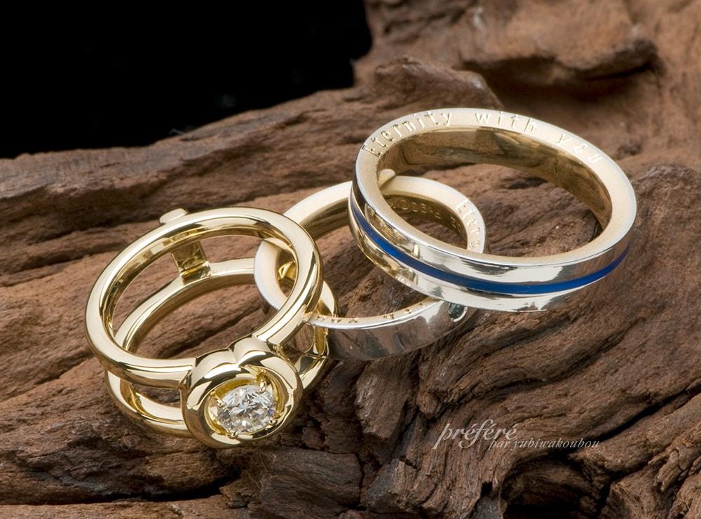 18金とプラチナのコンビ素材の結婚指輪と婚約指輪のセットリング(指輪No.729)