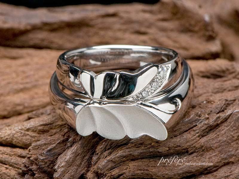 蝶蝶モチーフのペア結婚指輪はオーダーメイド(指輪No.2647)