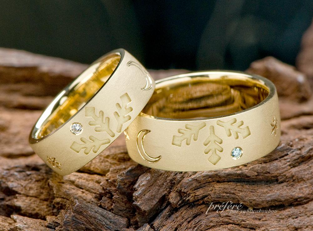 雪の結晶 結婚指輪オーダー