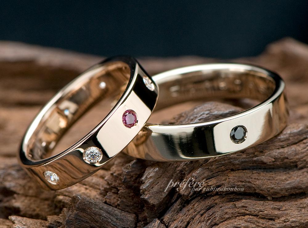 結婚指輪のオーダーはピンクゴールド&シャンパンゴールド素材