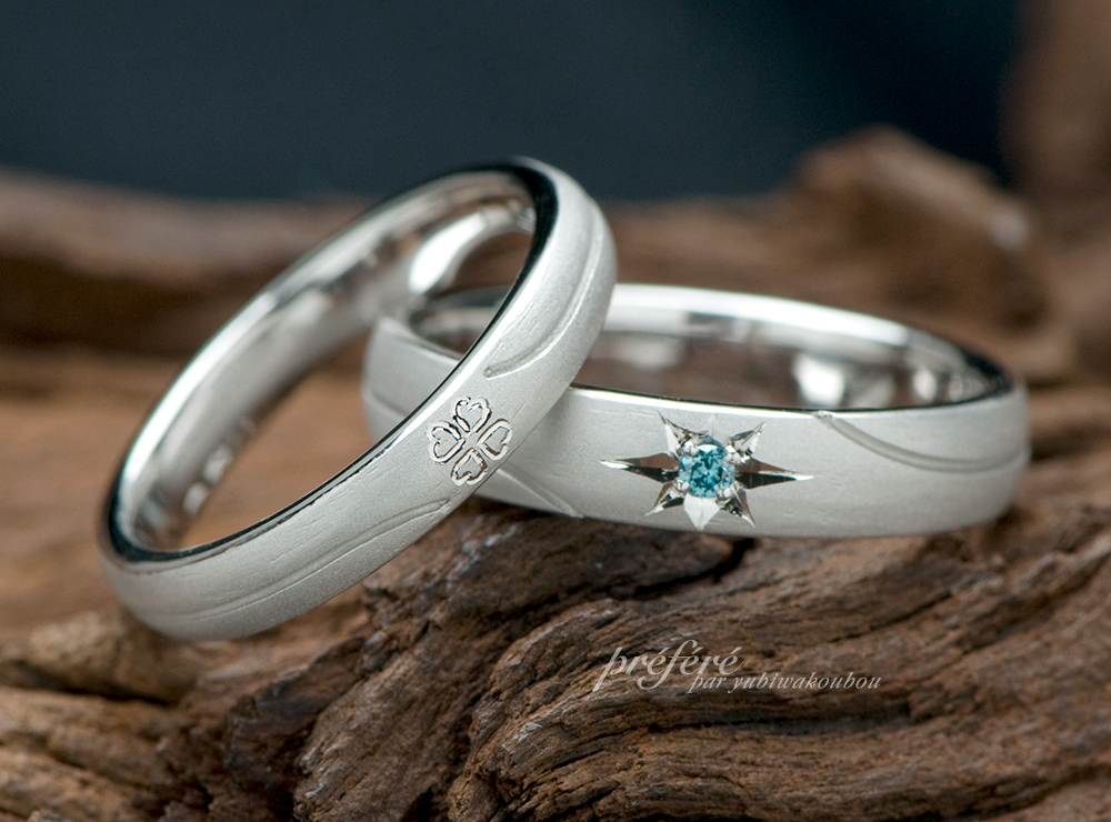 四つ葉のクローバー 星モチーフ 結婚指輪オーダーメイド