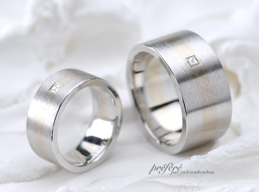 ヘアライン 結婚指輪オーダー,プリンセスダイヤ 結婚指輪オーダー
