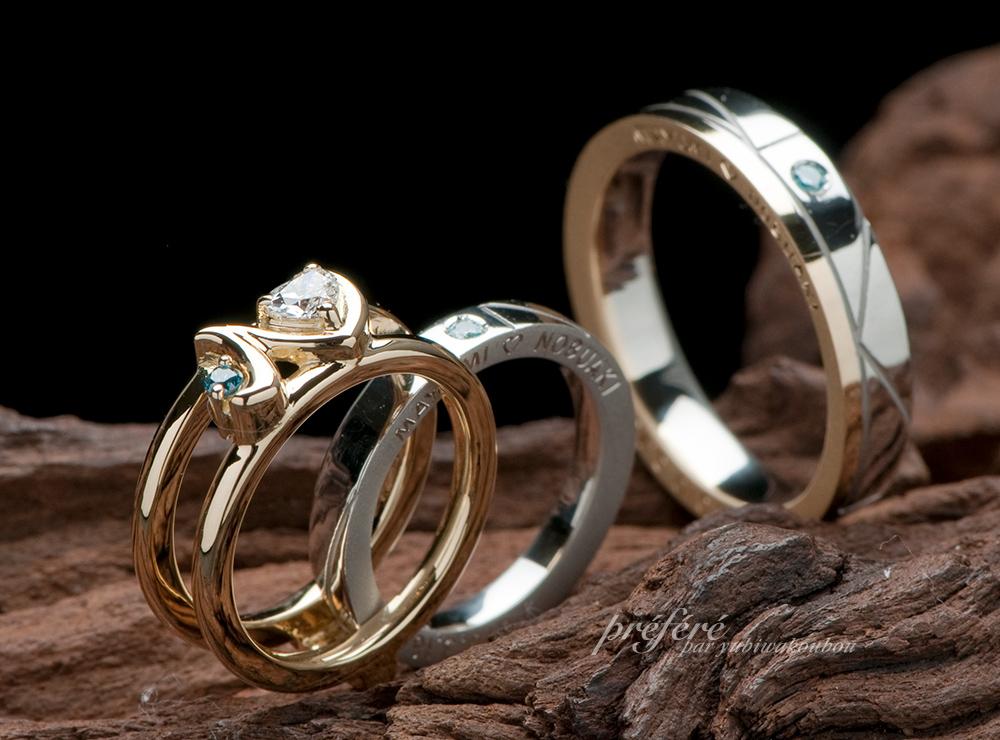イニシャル オーダーメイド婚約指輪,婚約指輪 結婚指輪 セットリング