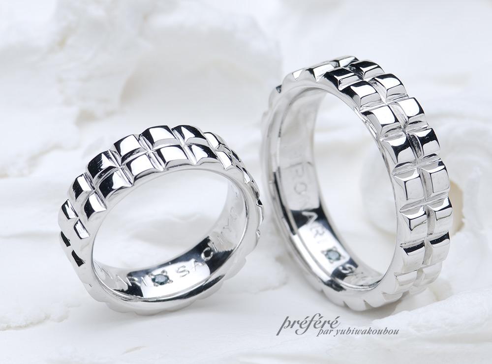 ブロックデザイン 結婚指輪オーダー,角形 結婚指輪オーダー