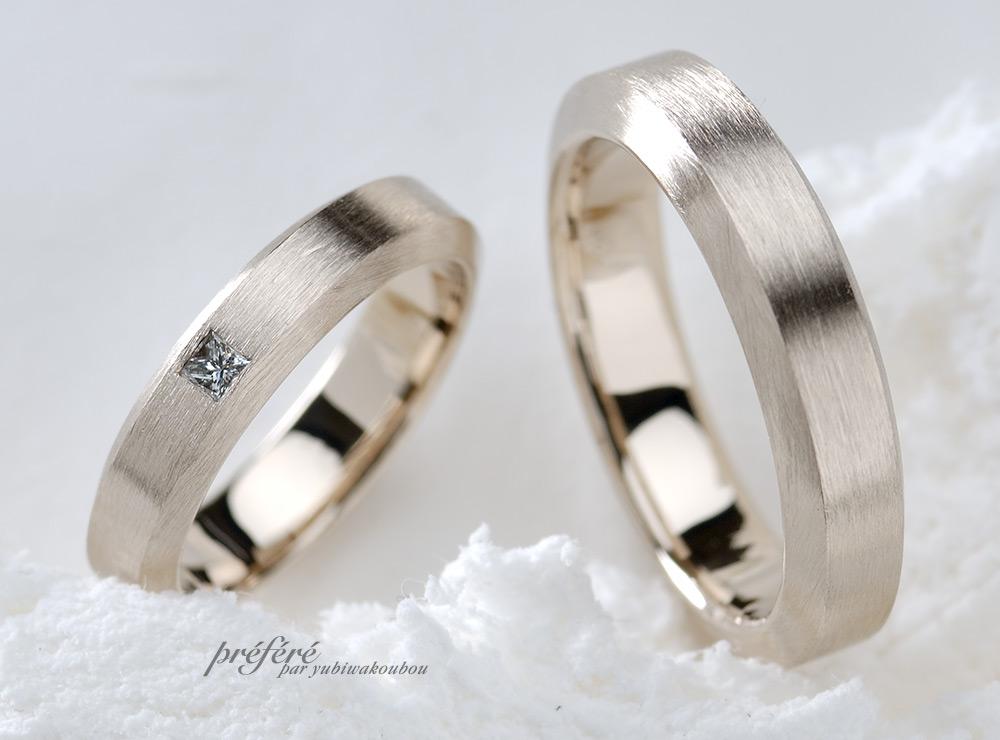 テクスチャーの結婚指輪オーダー,ピンクゴールド 結婚指輪オーダー