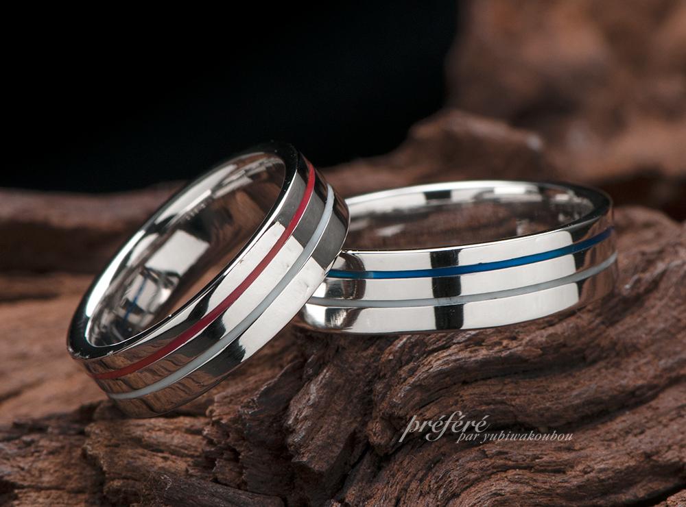 幅広リング 結婚指輪オーダー,カラーライン 結婚指輪オーダー
