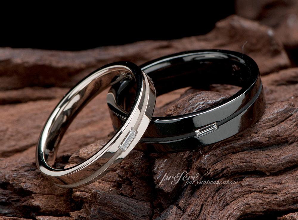 バケットダイヤ 結婚指輪オーダー ブラックリング