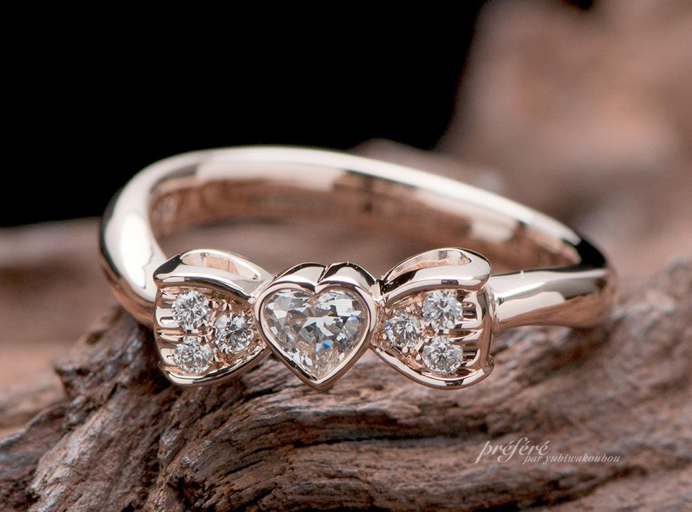 婚約指輪 リボン,ハートダイヤ  婚約指輪オーダー,婚約指輪 ピンクゴールド