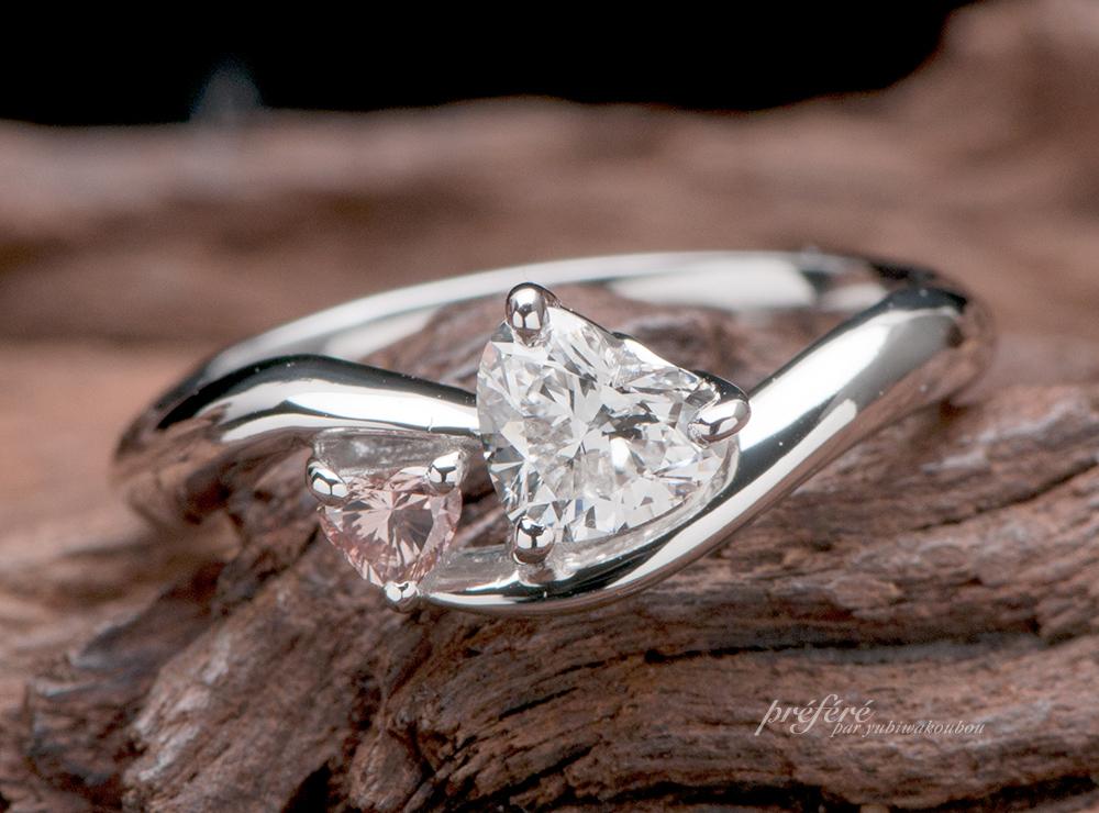 ハートダイヤ 婚約指輪オーダー, ピンクハートダイヤ 婚約指輪