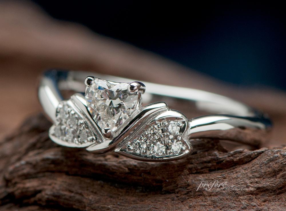 ハートダイヤ リボン 婚約指輪オーダー