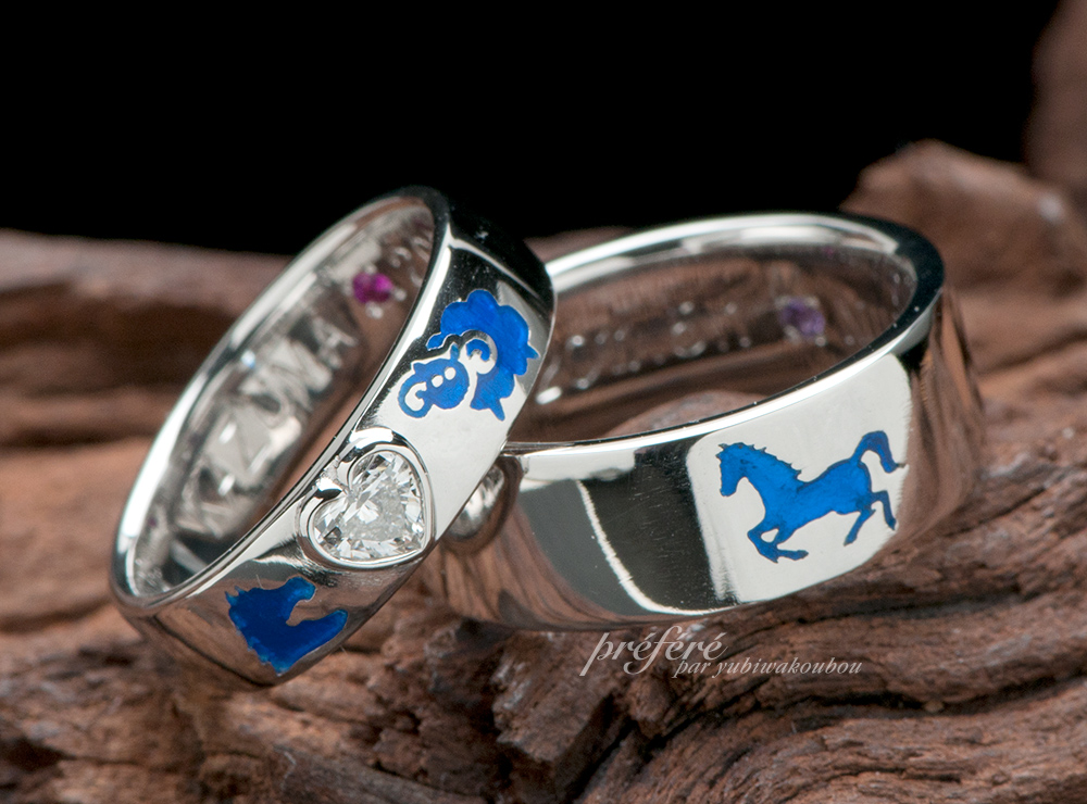 ハートダイヤ 結婚指輪オーダー,干支  結婚指輪オーダー,馬 結婚指輪オーダー