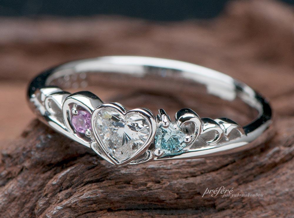 ティアラ型婚約指輪はハートダイヤを入れてオーダーメイド