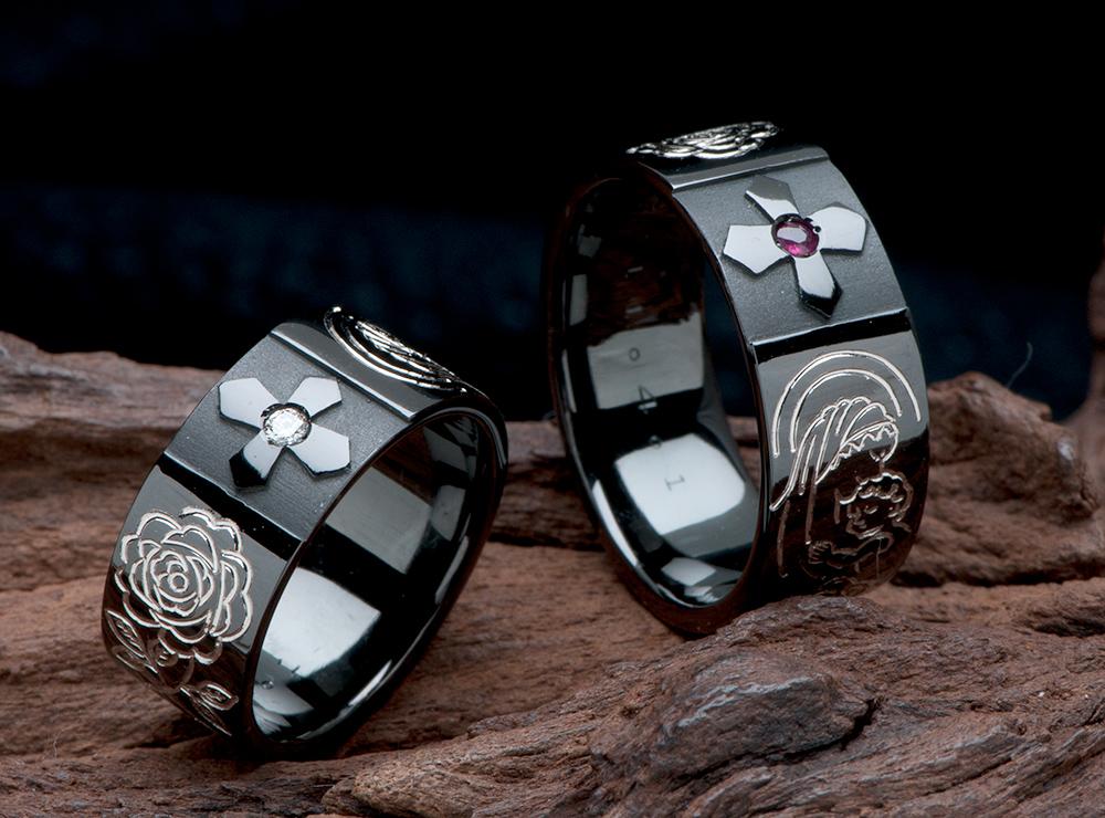 クロス 結婚指輪オーダー,薔薇 結婚指輪オーダー,聖母マリア 結婚指輪オーダー,