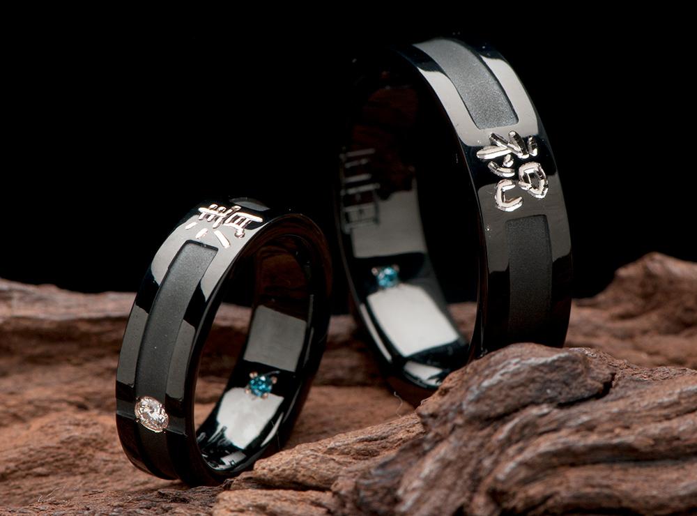 漢字 ブラックリング 結婚指輪オーダー