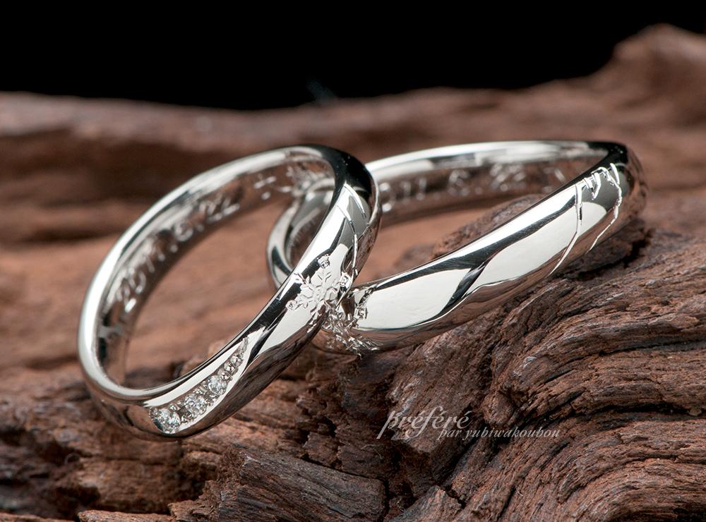 雪の結晶モチーフ 結婚指輪オーダー