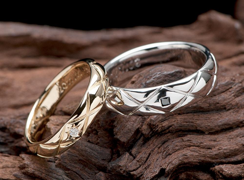 格子デザイン 結婚指輪オーダー