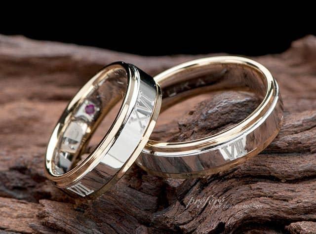 ローマ数字 結婚指輪オーダー,コンビ素材 結婚指輪オーダー