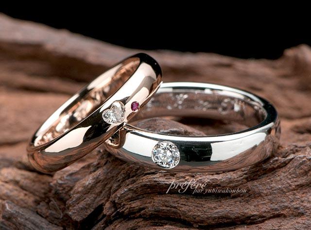 結婚指輪オーダーはピンクゴールドリングにハートダイヤ(指輪No.3524)
