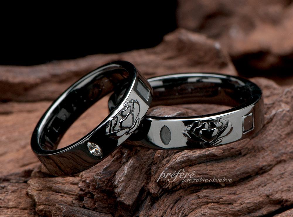 お花モチーフ 結婚指輪オーダー,ブラックリング 結婚指輪オーダー