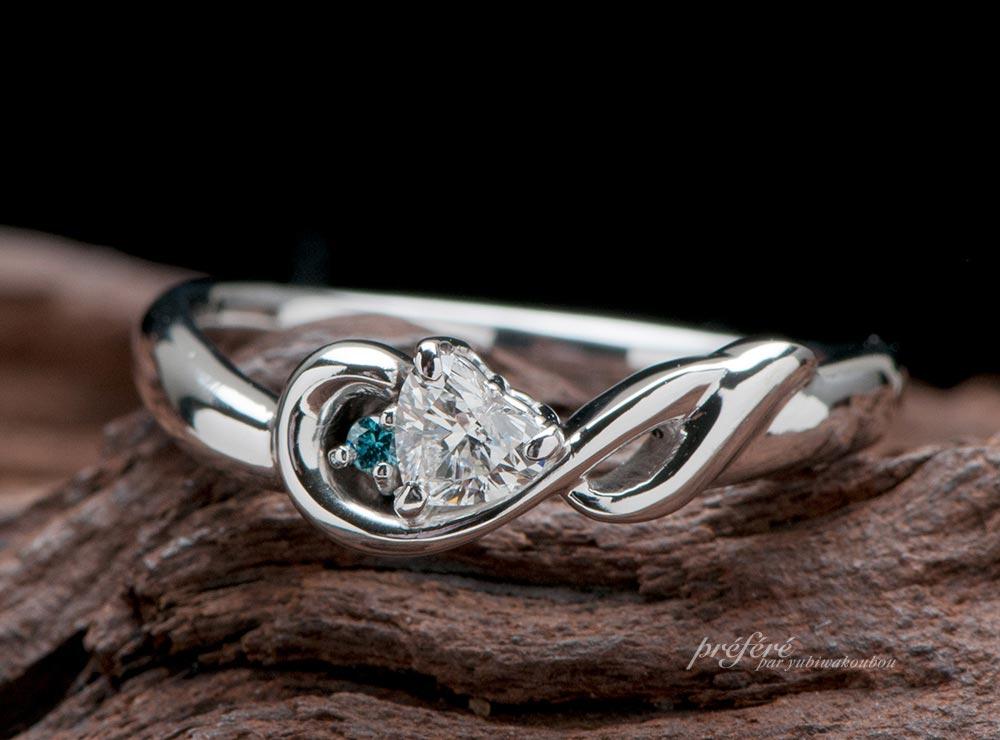 ハートダイヤと音符モチーフの婚約指輪をオーダー