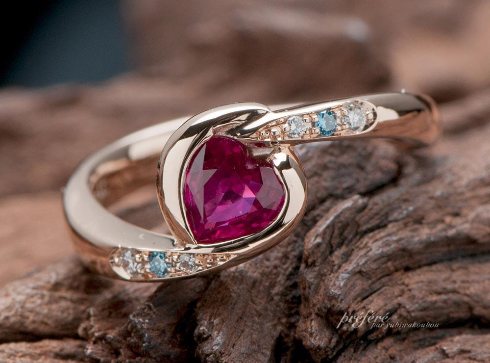 ハートのルビーで婚約指輪オーダー
