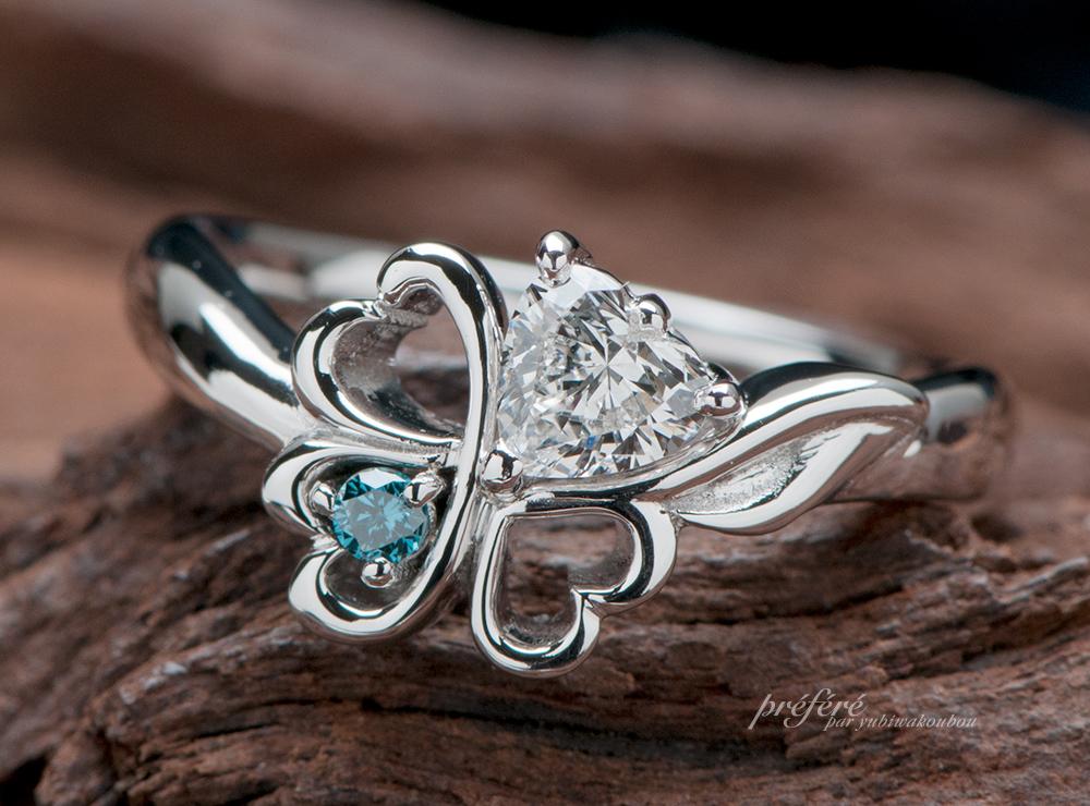 四つ葉ハートダイヤ 婚約指輪オーダー,イニシャル 婚約指輪