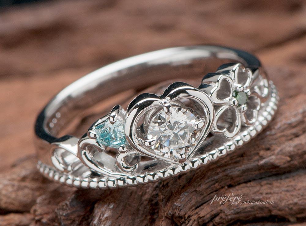四つ葉モチーフのティアラ型婚約指輪オーダー