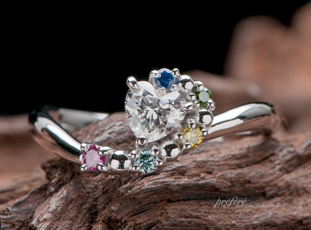 花火とハートダイヤで婚約指輪オーダー
