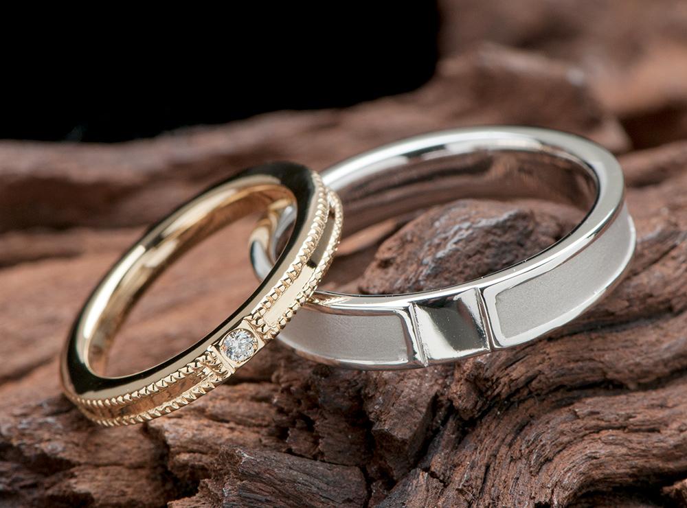18金素材 ミル打ち 結婚指輪オーダー