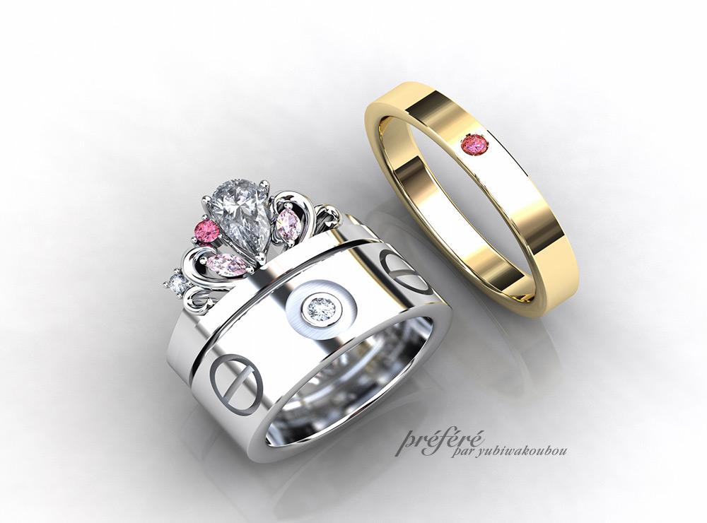 ティアラに婚約指輪オーダー でリメイク