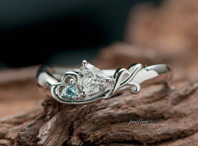 婚約指輪はオーダーでハート&音符&イニシャルモチーフ(指輪No.4615)