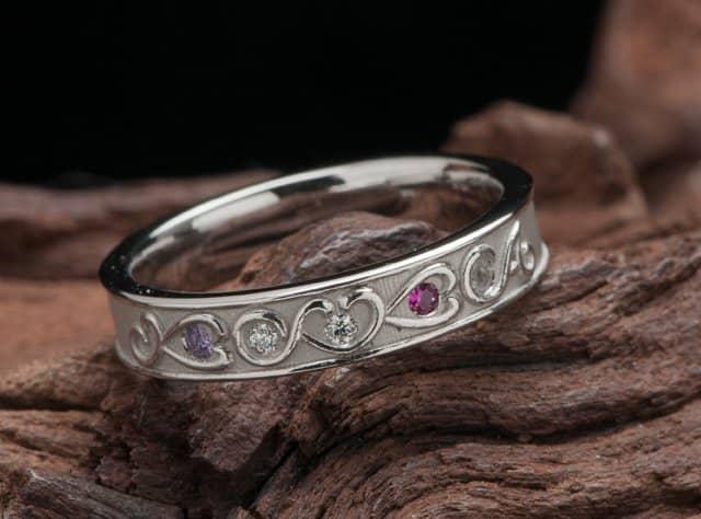 結婚10年記念指輪オーダー,イニシャル 誕生石 スイートテンリング