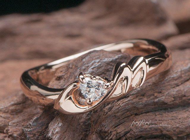 婚約指輪をオーダーでシンデレラの靴をイメージ(指輪No.6413)