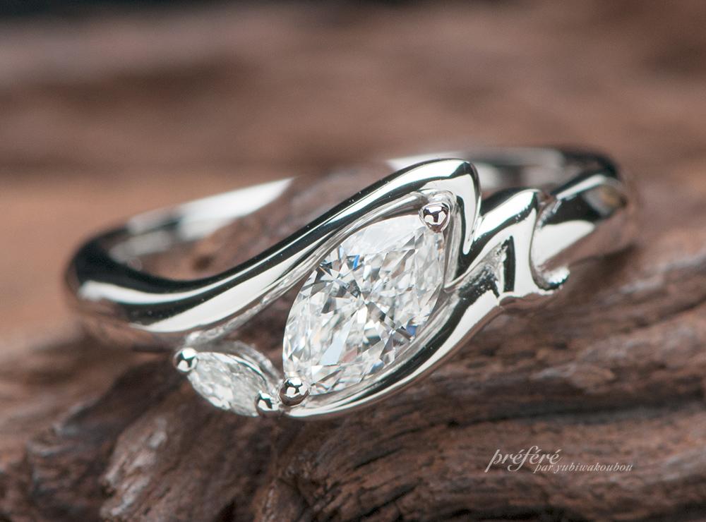 イニシャル 婚約指輪オーダー,マーキスダイヤ 婚約指輪オーダー