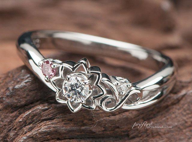 太陽とイニシャルモチーフの婚約指輪(指輪No.6398)